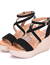 cheap -Women's Shoes Leatherette Summer Comfort Sandals Wedge Heel Peep Toe for Black / Coffee / Red