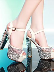 Недорогие -Жен. Обувь Кружева / Лакированная кожа Весна / Лето Удобная обувь / Оригинальная обувь Сандалии На толстом каблуке Открытый мыс Пряжки