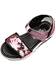 baratos -Para Meninas sapatos Couro Ecológico Verão Conforto Sandálias Velcro para Casual Ao ar livre Rosa claro Azul Real