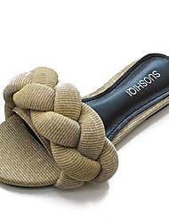 お買い得  -女性用 靴 PUレザー 春 夏 コンフォートシューズ スリッパ&フリップ・フロップ フラットヒール ラウンドトウ のために カジュアル ゴールド ブラック