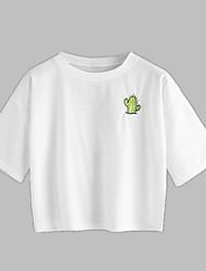 preiswerte -Damen Solide Buchstabe-Grundlegend T-shirt Druck Bestickt