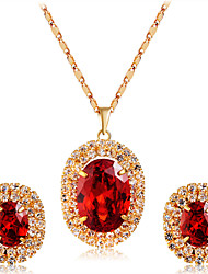 cheap -Women's Crystal / Cubic Zirconia Jewelry Set - Crystal, Zircon, Gold Plated Classic, Fashion Include Stud Earrings / Pendant Necklace Gold For Wedding / Party