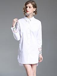 Недорогие -Жен. Очаровательный Классический Рубашка Платье - Однотонный, Вышивка До колена