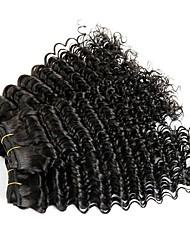 baratos -3 pacotes Cabelo Brasileiro Onda Profunda Cabelo Humano Cabelo Humano Ondulado / Um Pacote de Solução / Extensões de Cabelo Natural 8-28 polegada Tramas de cabelo humano extensão / Melhor qualidade