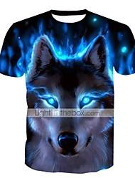 baratos -Homens Tamanhos Grandes Camiseta Básico Estampado, Animal Decote Redondo Delgado / Manga Curta