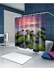 abordables -Rideaux de douche et anneaux Moderne Méditerranéen Polyester Moderne Nouveauté Fabrication à la machine Imperméable Salle de Bain