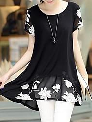 cheap -Women's Casual Street chic Plus Size Loose Blouse Print U Neck
