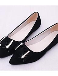 baratos -Mulheres Sapatos Pele Nobuck Primavera Outono Bailarina Conforto Rasos Salto Baixo para Casual Preto Cinzento Rosa claro
