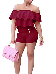 cheap -Women's Plus Size Going out Street chic Cotton Skinny Bodysuit - Floral High Waist Boat Neck