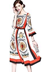 Недорогие -Жен. Классический Уличный стиль Вспышка рукава С летящей юбкой Платье - Геометрический принт, С принтом Средней длины
