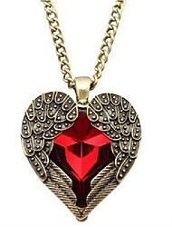 cheap -Women's Lovely Heart Pendant Necklace  -  Sweet Wings / Feather Red 76cm Necklace For Wedding Evening Party