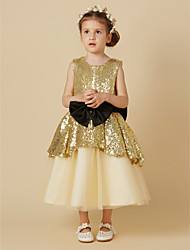 cheap -Princess Tea Length Flower Girl Dress - Tulle Sequined Sleeveless Jewel Neck with Bow(s) Sash / Ribbon by LAN TING BRIDE®