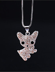 cheap -Women's Dog Cubic Zirconia Rhinestone Sterling Silver Pendant Necklace  -  Animals Silver Necklace For Wedding Daily