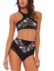 abordables -Femme Sportif A Bretelles Bandeau Bikinis - Dos Nu Imprimé Brodée, Fleur Slips