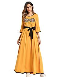 Недорогие -Жен. Классический Богемный Прямое С летящей юбкой Платье - Однотонный Цветочный принт, Вышивка Макси