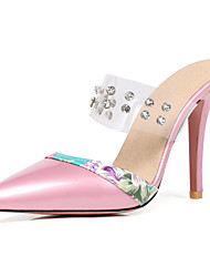 cheap -Women's Shoes Leatherette Summer Comfort / Slingback Slippers & Flip-Flops Stiletto Heel Pointed Toe Rivet Red / Pink / Almond