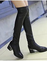 povoljno -Žene Cipele PU Jesen Zima Modne čizme Čizme Kockasta potpetica Čizme preko koljena za Kauzalni Crn