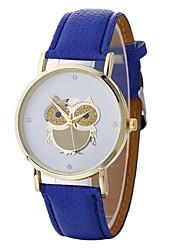 Недорогие -Жен. Модные часы Кварцевый Крупный циферблат PU Группа Аналоговый Мода Черный / Белый / Синий - Коричневый Красный Синий Один год Срок службы батареи