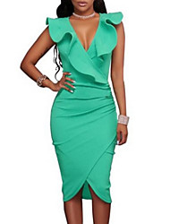 cheap -Women's Going out Skinny Bodycon / Sheath Dress - Solid Colored High Waist Deep V / Summer / Ruffle