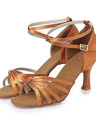 Недорогие -Жен. Обувь для латины Шёлк На каблуках Ленты На шпильке Персонализируемая Танцевальная обувь Темно-коричневый / Телесный / Кожа