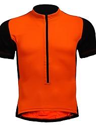 baratos -Homens / Mulheres Manga Curta Camisa para Ciclismo - Black / Orange Moto Camisa / Roupas Para Esporte, Respirável / Com Stretch
