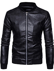 cheap -Men's Sports Basic / Street chic Leather Jacket - Solid Colored Stand / Long Sleeve