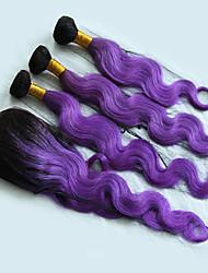 cheap -4 Bundles Brazilian Hair Wavy Virgin Human Hair Ombre Hair Weaves / One Pack Solution / Human Hair Extensions Human Hair Weaves Soft / Silky / Hot Sale Purple Human Hair Extensions Women's