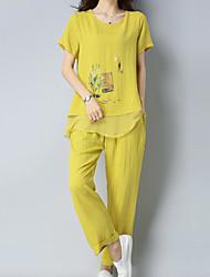 abordables -Femme Basique Set - Fleur, Imprimé Pantalon