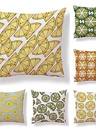 abordables -6 PC Textil Algodón / Lino Funda de almohada, Diseño Especial Estampado Novedad Simple Cuadrado
