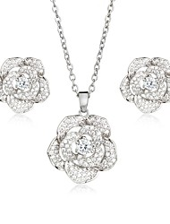 cheap -Women's Cubic Zirconia Zircon / Silver Plated / Gold Plated Floral Flower Jewelry Set 1 Necklace / Earrings - Floral / Elegant / Sweet