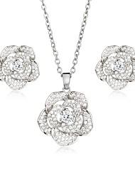 abordables -Femme Zircon Zircon / Plaqué argent / Plaqué or Fleur Fleur Ensemble de bijoux 1 Collier / Boucles d'oreille - Fleur / Elégant / Doux