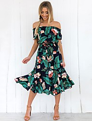 cheap -Women's Cute Street chic Chiffon Dress - Floral Geometric Print