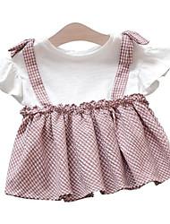 baratos -bebê Para Meninas Preto e cinza Listrado Manga Curta Vestido