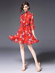 cheap -FRMZ Women's Plus Size Cute Flare Sleeve Slim Chiffon Dress - Floral Print Shirt Collar