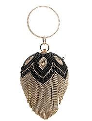 preiswerte -Damen Taschen PU-Leder Abendtasche Kristall Verzierung / Perlen Verzierung / Quaste Gold / Schwarz / Silber