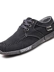 abordables -Hombre Zapatos Vaquero Primavera Otoño Suelas con luz Zapatillas de deporte Con Cordón para Casual Vestido Negro Azul