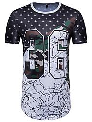 economico -T-shirt Per uomo Moda città Con stampe, Monocolore Alfabetico Camouflage