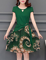 povoljno -Žene Ulični šik Skater kroj Haljina Cvjetni print Iznad koljena