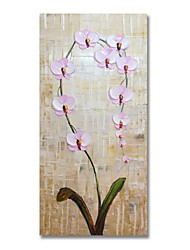 cheap -STYLEDECOR Modern Hand Painted Abstract A Sprig of Pink Flower Oil Painting on Canvas for Wall Art