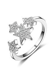 Недорогие -Жен. манжета кольцо обернуть кольцо Медь Звезда Дамы Простой корейский Модные кольца Бижутерия Серебряный Назначение Повседневные Регулируется