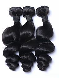 Недорогие -3 Связки Индийские волосы Волнистый Натуральные волосы Накладки из натуральных волос Естественный цвет Ткет человеческих волос Мягкость Расширения человеческих волос Жен.