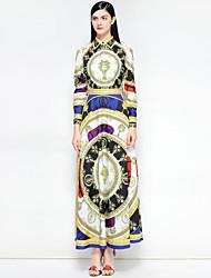 저렴한 -여성용 빈티지 / 스트리트 쉬크 면 슬림 스윙 드레스 - 플로럴 / 추상화 맥시 셔츠 카라