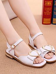 Недорогие -Девочки Обувь Полиуретан Лето Детская праздничная обувь На плокой подошве для Детские Белый / Розовый