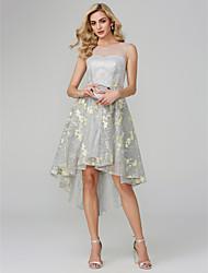 preiswerte -Ballkleid Illusionsausschnitt Asymmetrisch Metallic Spitze Cocktailparty Kleid mit Applikationen durch TS Couture®