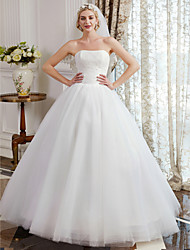 cheap -Ball Gown Strapless Floor Length Tulle Over Lace Custom Wedding Dresses with Lace by LAN TING BRIDE®