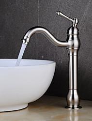 baratos -Torneira pia do banheiro - Pernas de Banheira Níquel Escovado Conjunto Central Monocomando e Uma Abertura