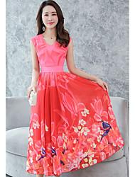 preiswerte -Damen Übergrössen Street Schick Swing Kleid Blumen Maxi V-Ausschnitt Hohe Taillenlinie Rot