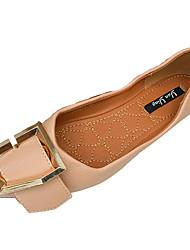 お買い得  -女性用 靴 PUレザー 春 コンフォートシューズ フラット フラットヒール ポインテッドトゥ のために カジュアル ホワイト ブラック ピンク