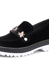abordables -Femme Chaussures Velours Printemps Automne Confort Mocassins et Chaussons+D6148 Talon Bottier Bout rond Strass pour Noir Bleu Bourgogne