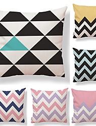 cheap -6 pcs Textile Cotton / Linen Pillow case Pillow Cover, Lines / Waves Geometric Pattern Contemporary Geometric High Quality